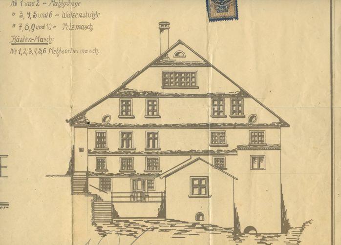 Die Mühle im Sägawinkl wurde bereits während des Ersten Weltkriegs von Rudolf Kastner erworben. Er wollte sie Anfangs offenbar als Mühle zur Versorgung seiner Belegschaft nutzen. Ob sie tatsächlich unter Kastner in Betrieb war, ist nicht belegt. 1927 wurde das Gebäude schließlich in Betriebswohnungen umgebaut.  Plan um 1917 Gemeindearchiv Thüringen