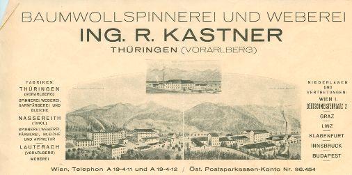 Briefkopf aus der Zwischenkriegszeit auf dem auch der Vorarlberger Standort in Lauterach oben in der Mitte zu sehen ist. Unten links Thüringen und unten rechts Nassereith, das 1927 zum Unternehmen kam.  Vorarlberger Landesbibliothek