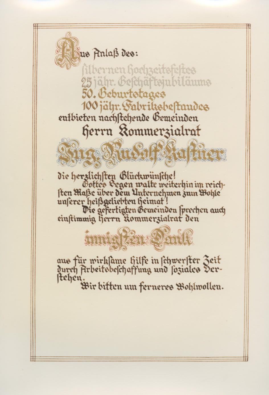 """Ehrenurkunde der Gemeinden Thüringen, Thüringerberg, Ludesch und Bludesch für Rudolf Kastner, anlässlich des Jubiläums """"100 Jahre Fabrik in Thüringen""""  Urkunde (Kopie) von 1934 Gemeindearchiv Thüringen"""