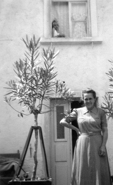 Hauseingang der Familie Handlos an der Vorderseite des Mädchenheims an der Faschinastraße.  Foto um 1950   zur Verfügung gestellt von Waltraud Wetli -Payer