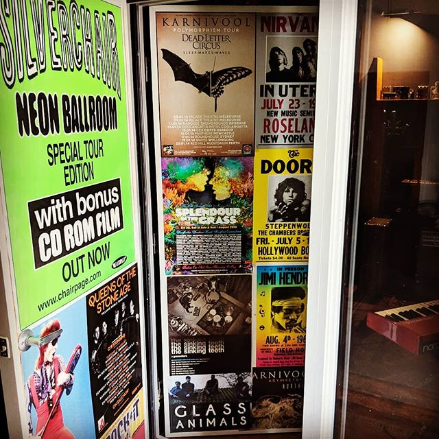 Let the door swing!  It's almost a year since we moved in to @huntinggroundstudios finally finished the inside of the studio doors.  We've been busy... #thedoors #silverchair #karnivool #queensofthestoneage #bowie #splendourinthegrass #nirvana #thesinkingteeth #jimihendrix  #glassanimals #noonedefeatsus