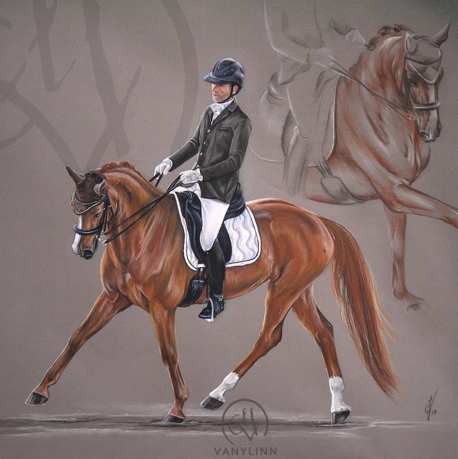 Juriana dressage horse composition pastel realistic.JPG