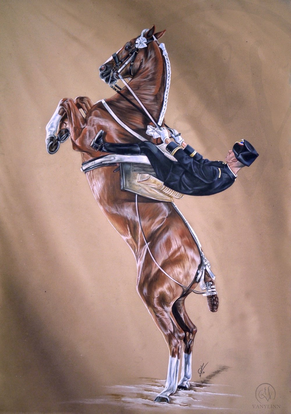 Cadre Noir IV horse dressage pastel hyper realistic.JPG