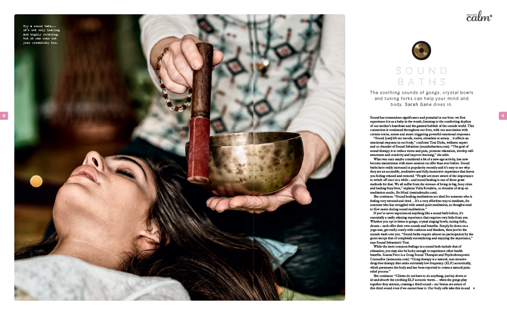 Sound baths - an in-depth article featuring interviews with wellness and nutrition expert, Jasmine Hemsley, Lush, co-founder of Sound Sebastien Toni Dicks, the founders of Re:Mind Studio, plus more