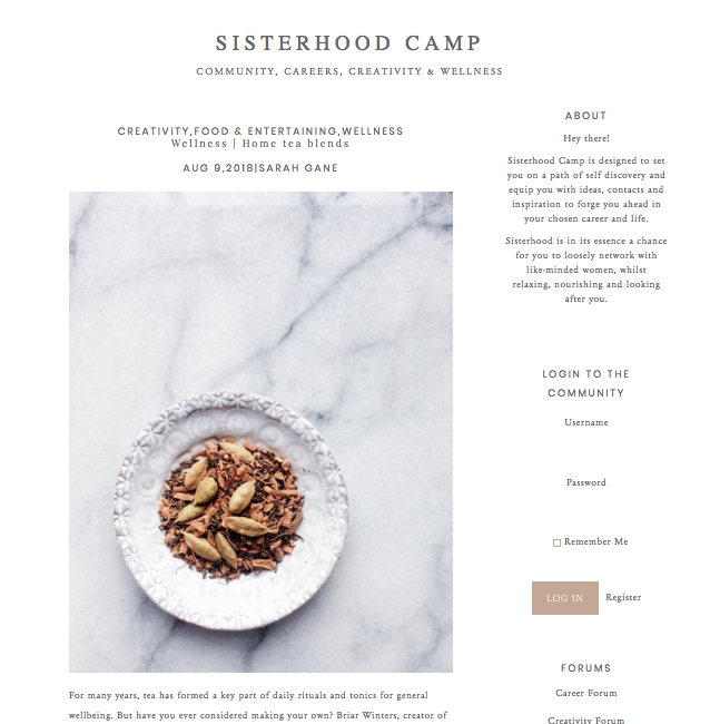 Homemade tea blends article for Sisterhood Camp blog. Featuring expert advice from Marble & Milkweed's Briar Winters and Hedgerow Herbs' Dee Dade. www.sisterhoodcamp.co.uk