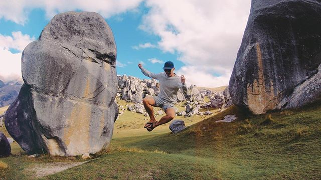 Classy jumps between the huge limestone formations here in Castle village, Arthur's pass, NZ. The natural wonders in the world is 👌. #arthurspass #nz #backpacking #gopro6 #karma