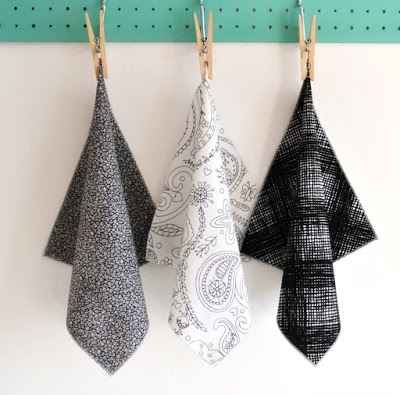 Handmade monochrome handkerchiefs