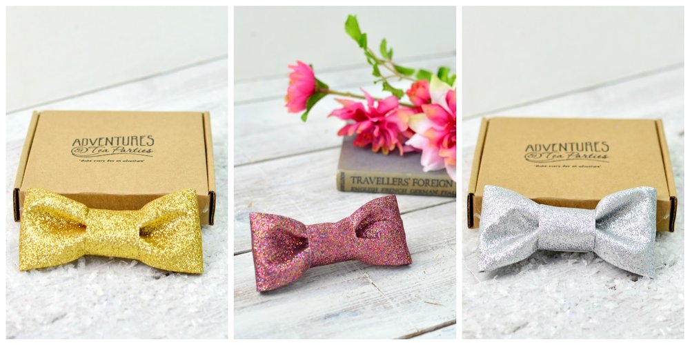 Adventures & Tea Parties Glitter Bow Hair Grips available at Etsy