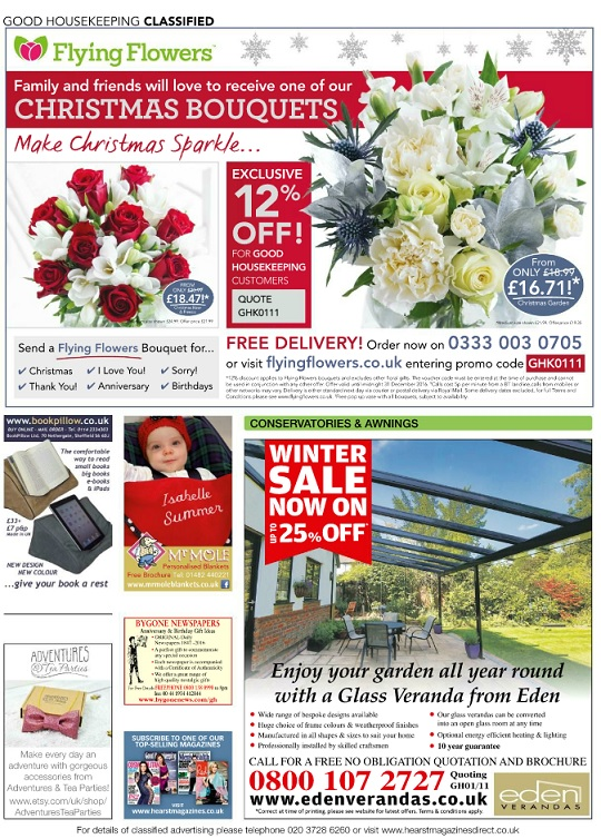 Good Housekeeping December 2016 classified advert page