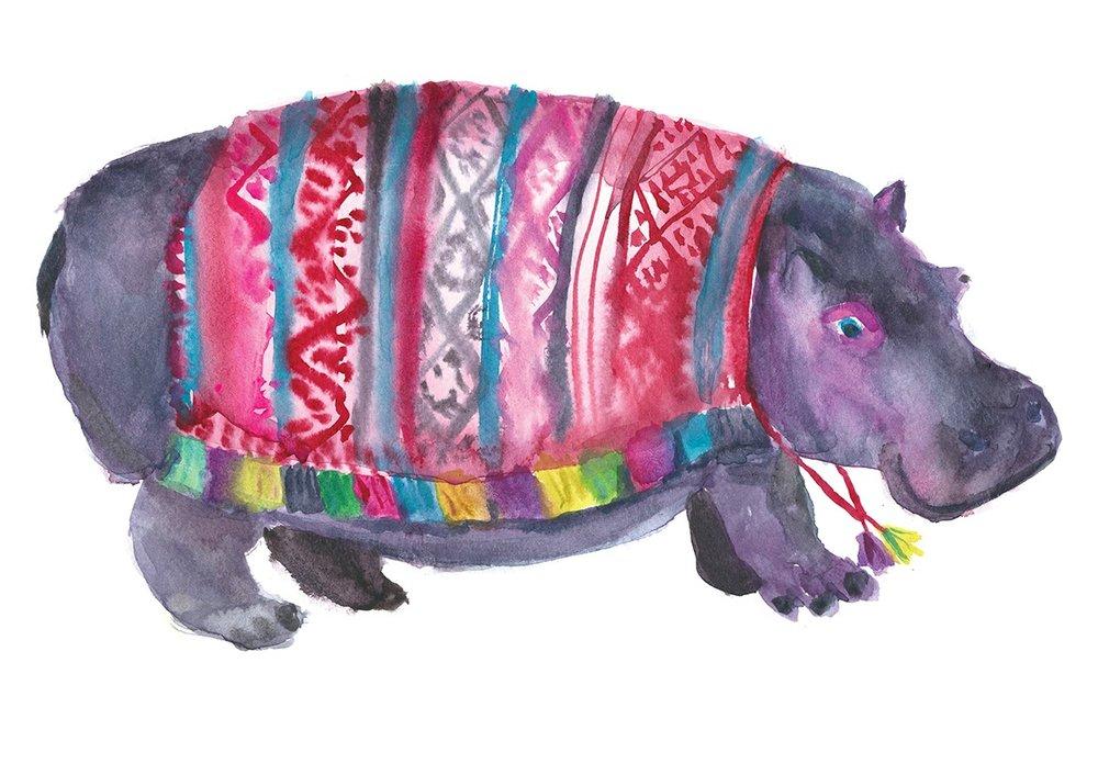 Rosie Webb Illustrations - Hippo in Poncho