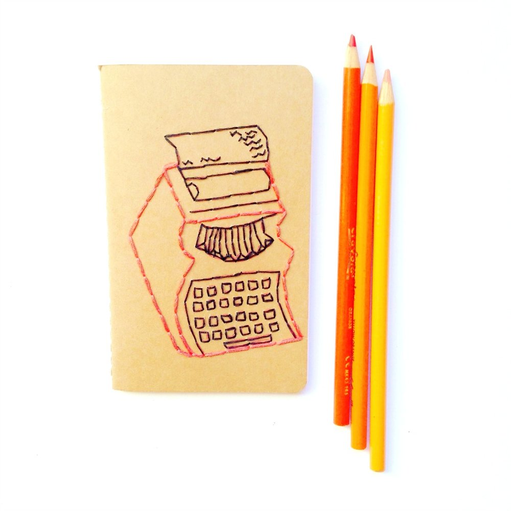 Adventures and Tea Parties Orange Typewriter Notebook