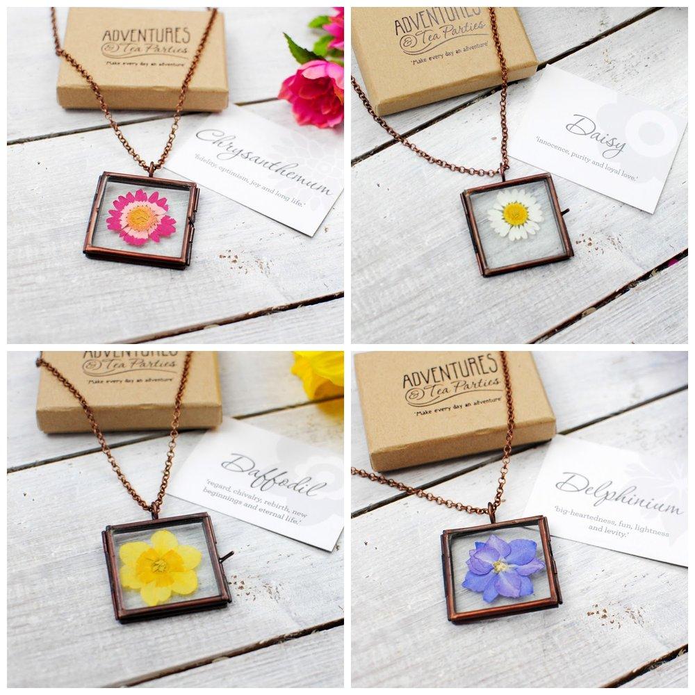 pressed flower pendants