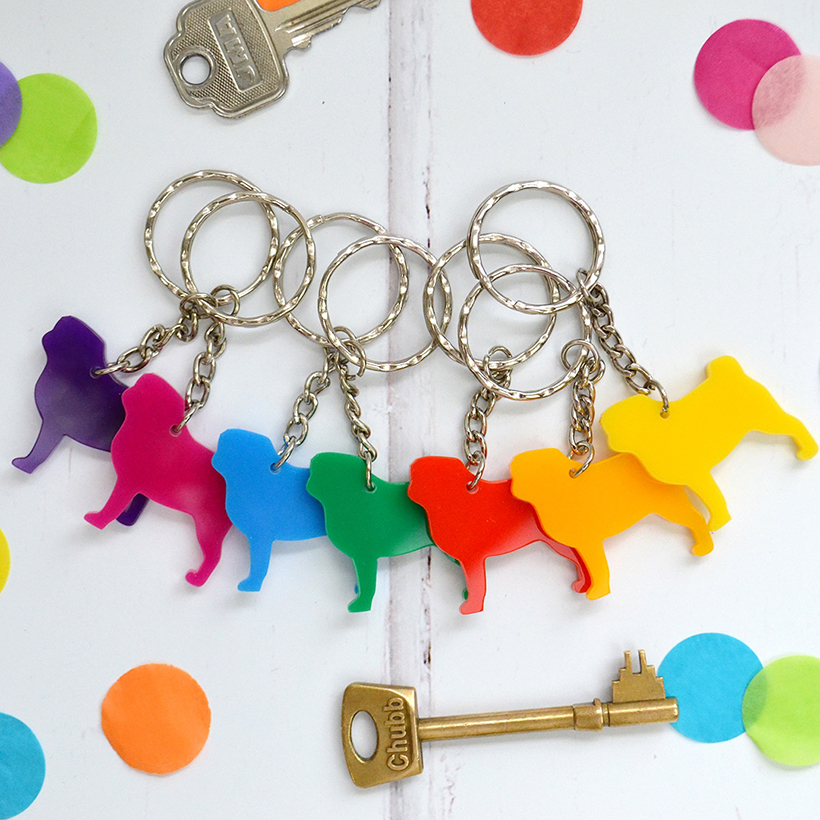 Rainbow pug key rings by Adventures & Tea Parties and available at Etsy