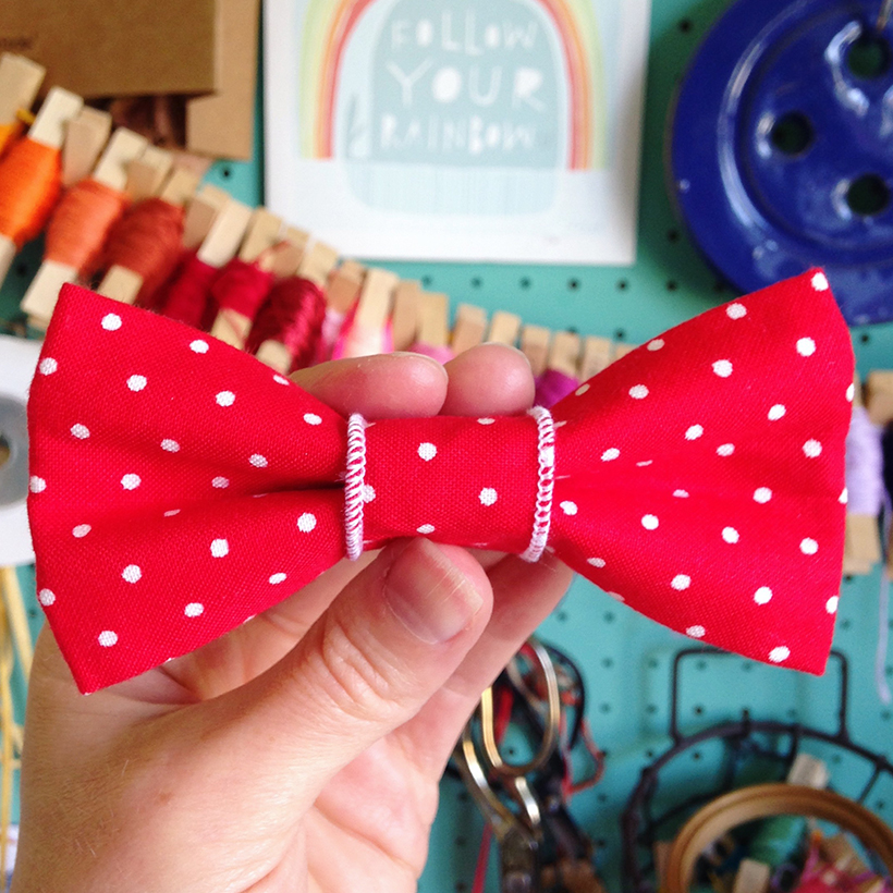 Red polka dot dog bow tie designed by Joanna Payne at Adventures & Tea Parties