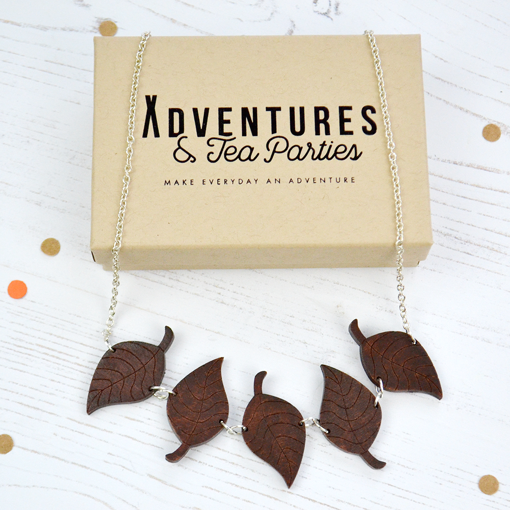 wooden leaf necklace