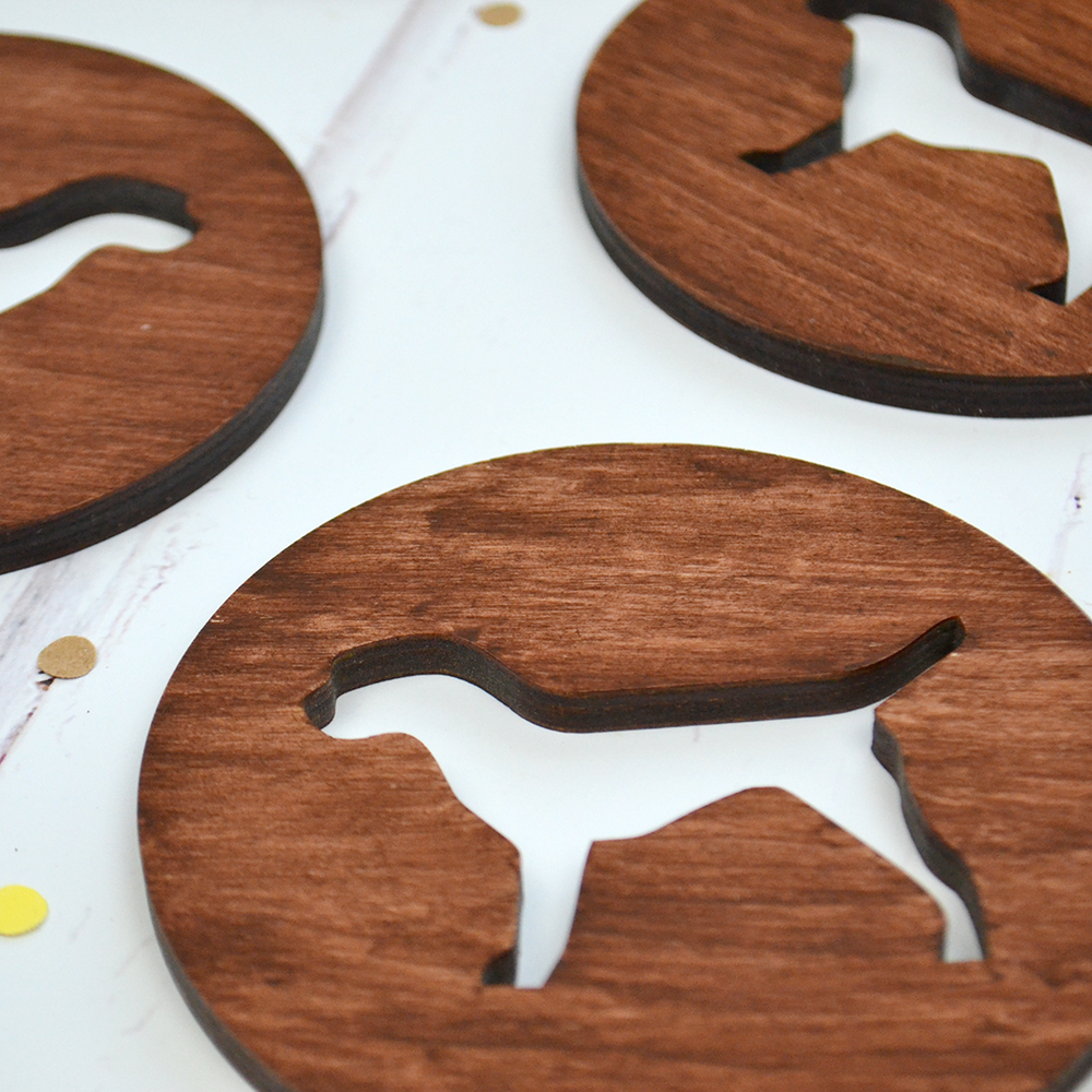 wooden dog coasters