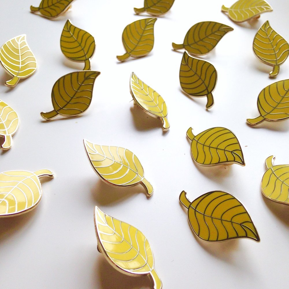 yellow leaf brooches