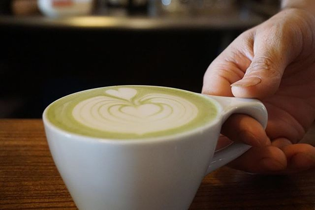We're enjoying Matcha Monday right. Come in and get a cup of that green magic. #matchamonday