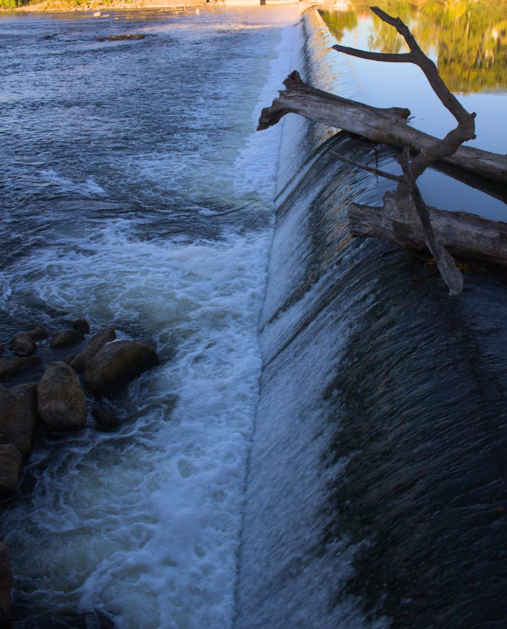 Logs and other refuse are regularly seen stuck on top the dam, or tossing and spinning in the whitewater below.