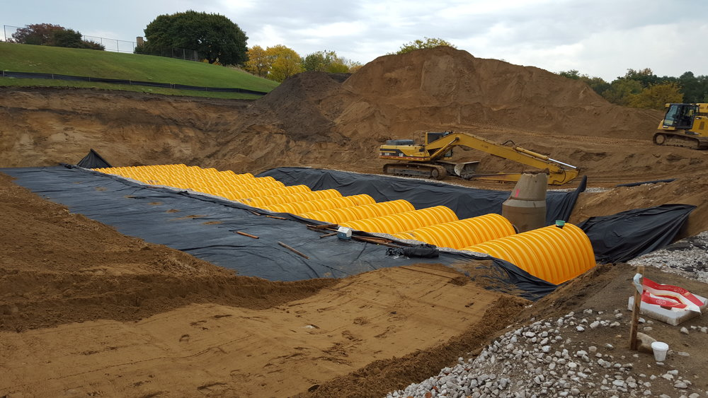 Construction of the retention basin under Mary Waters Park. It holds and slowly filters up to 720,000 gallons of stormwater. Photo courtesy of Elaine Isely.