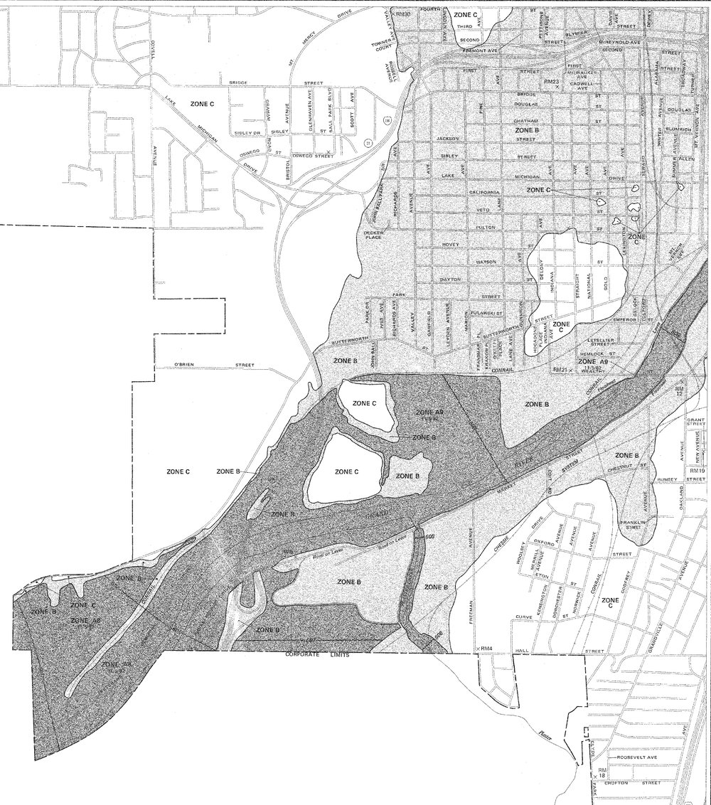 The most current FEMA certified floodplain map for South-West Grand Rapids, showing the 100-year flood region.