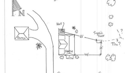 A portion of the site drawing on file for Hewitt's property that had no proper drain field.