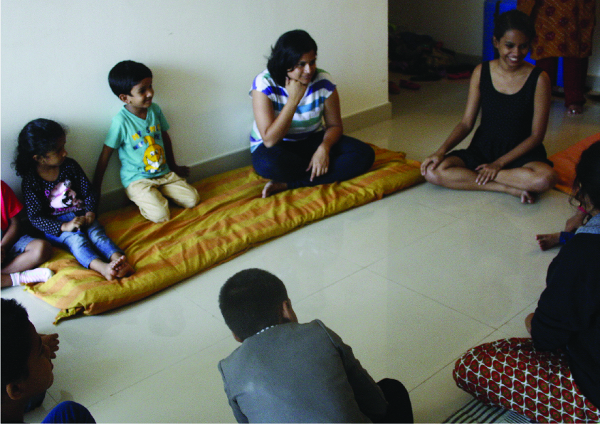 An initial workshop was done with the kids to understand how storytelling can help them interact with one another.