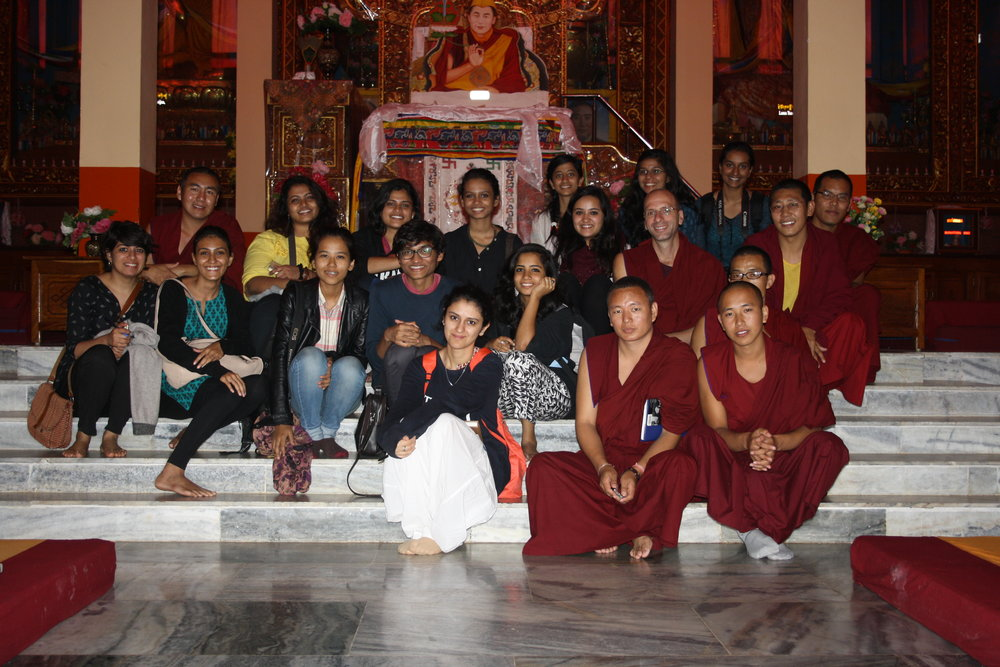 With the monks in Sera Jey monastery in Bylakuppe