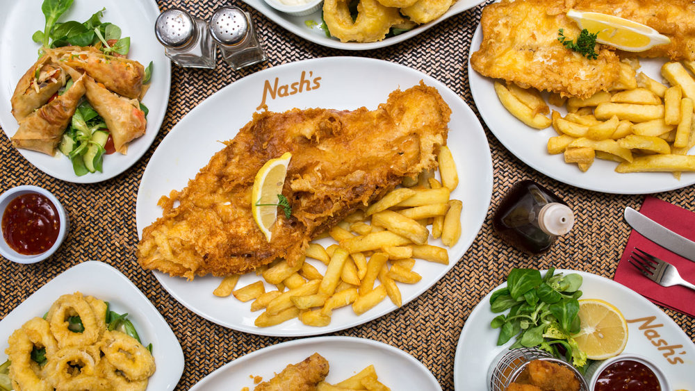 An aerial shot of fish & chips at a York restaurant