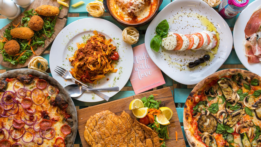 Italian Food on a restaurant table shot from above