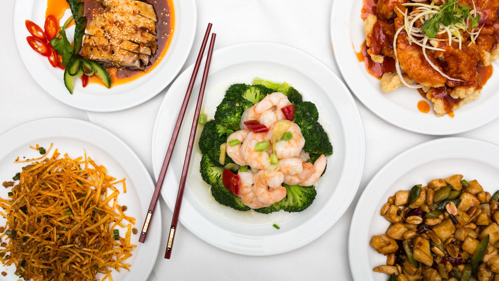Chinese food shot from above with chop sticks