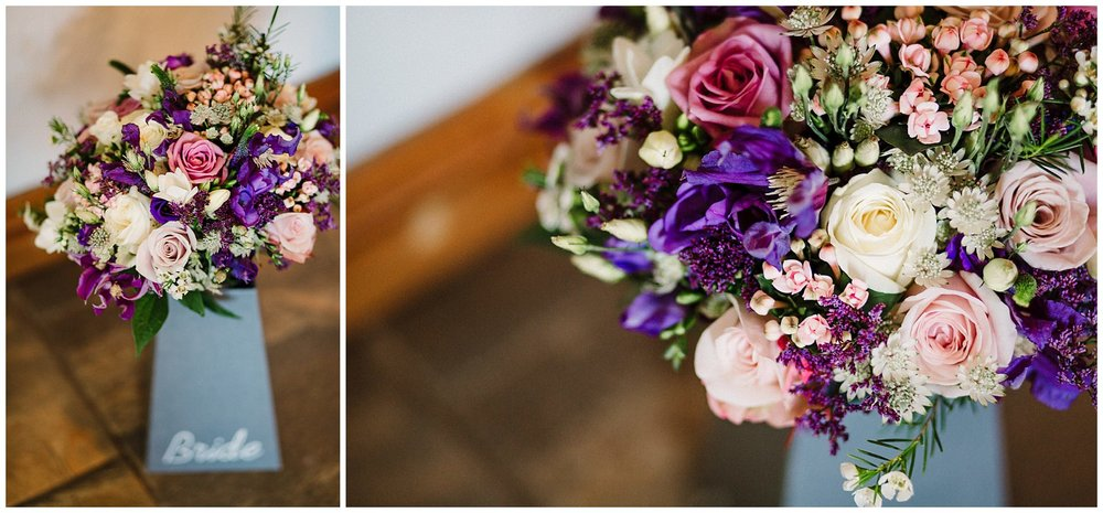 a pink, purple and green wedding bouquet