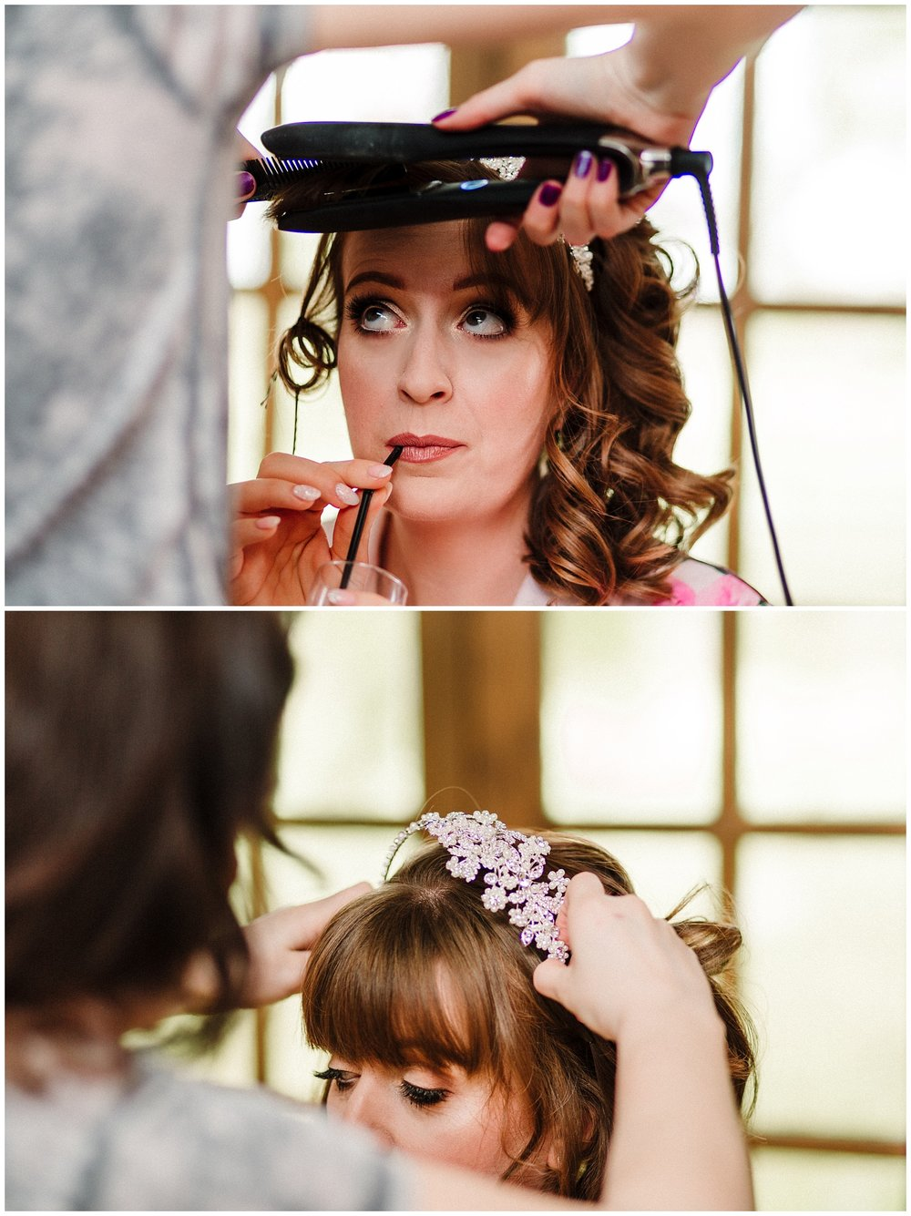 A bride drinking from a straw while having her hair done