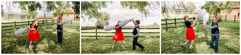 children play fighting at a yorkshire wedding reception