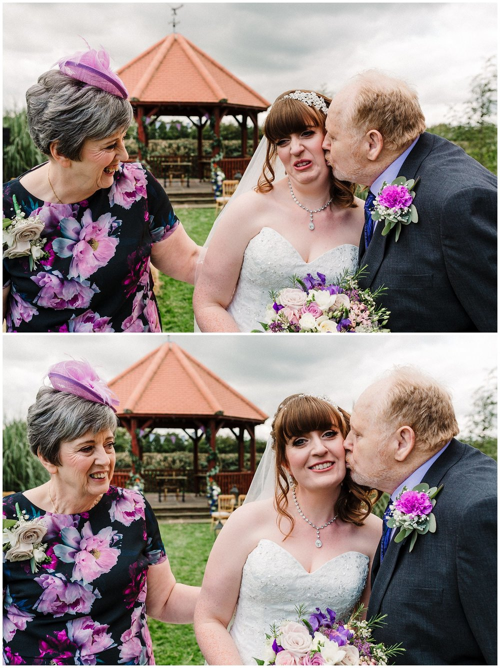 a bride pulling a funny face as her dad kisses her cheek