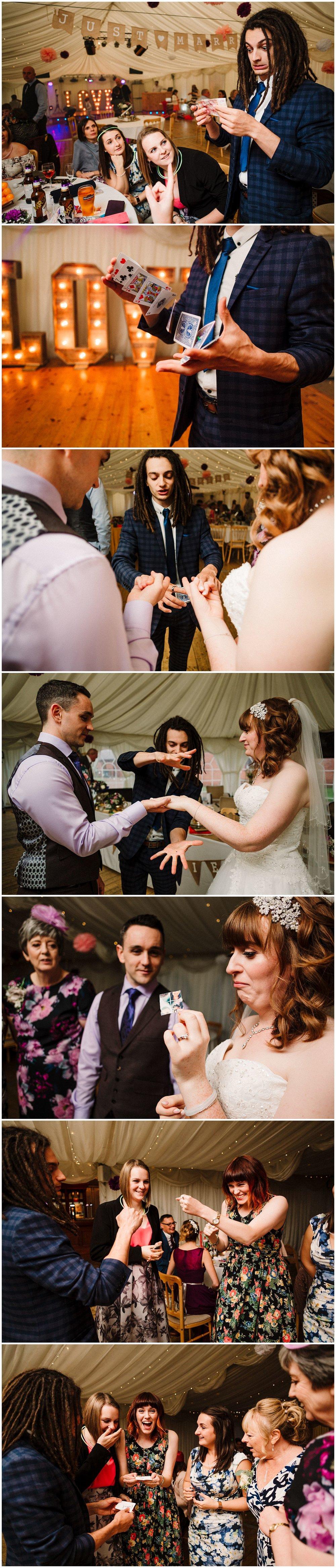 a close up magician at a yorkshire wedding reception