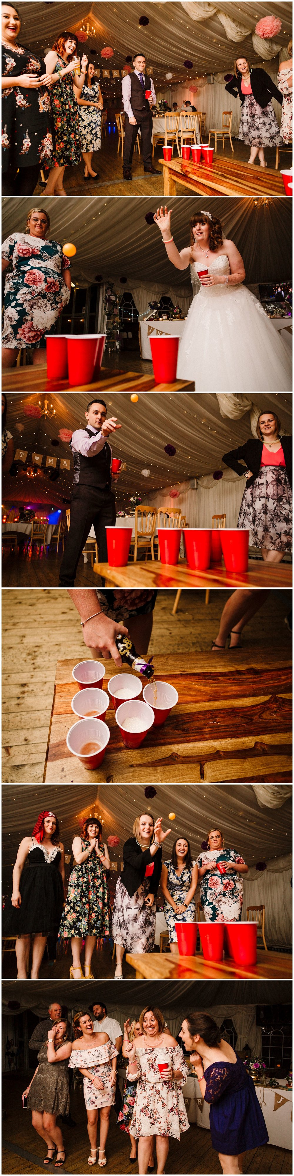 a bride and groom playing beer pong with guests at a yorkshire wedding