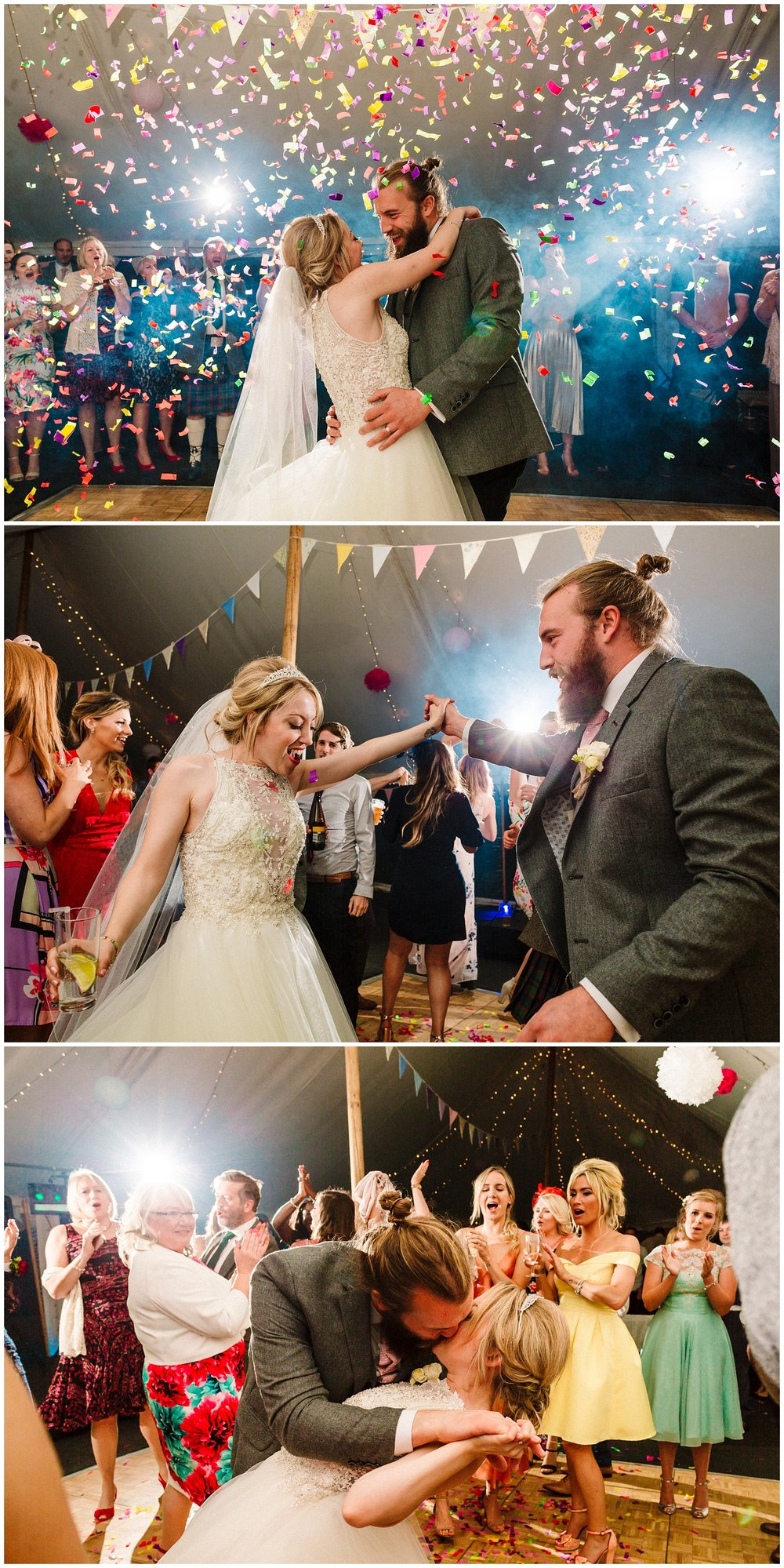 a bride and groom doing their first dance surrounded by colourful confetti