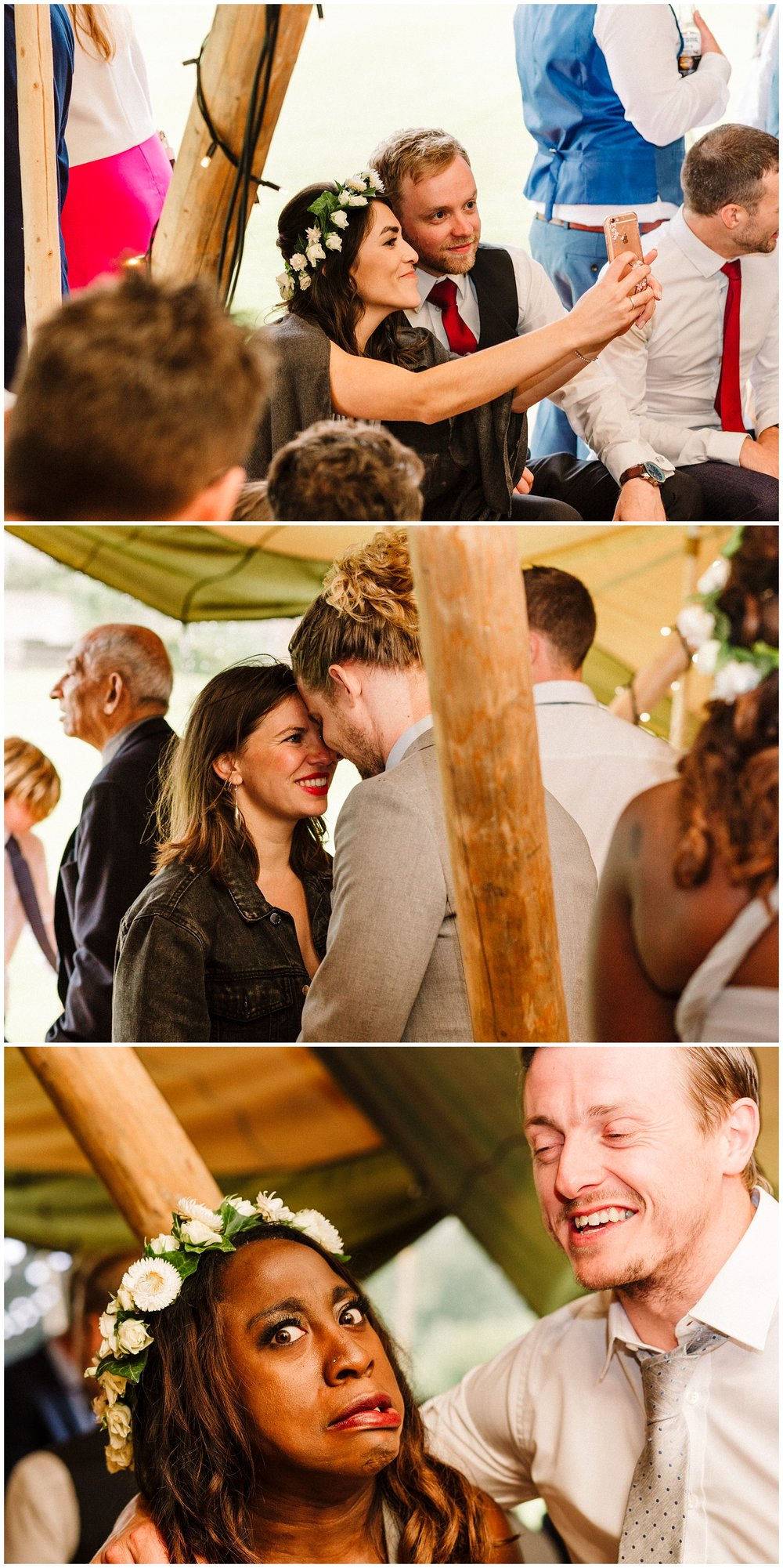 wedding guests at a scampston hall tipi wedding