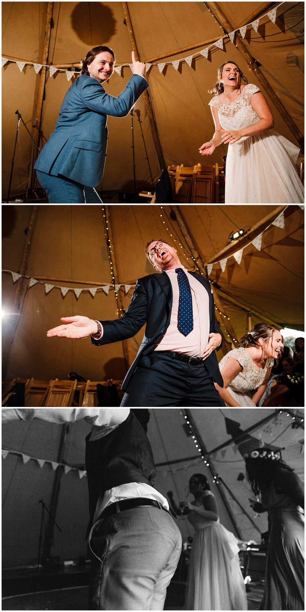 Bride and guests dancing at a tipi wedding in yorkshire