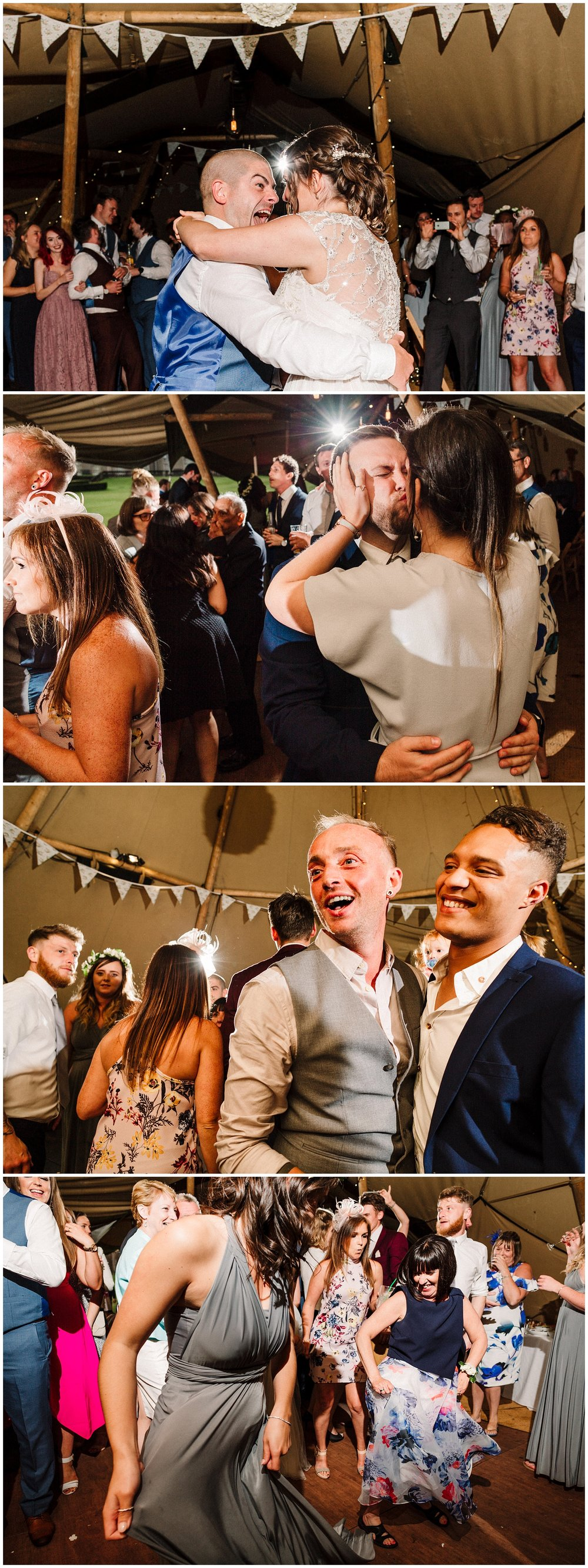 guests on a wedding dancefloor in a tipi