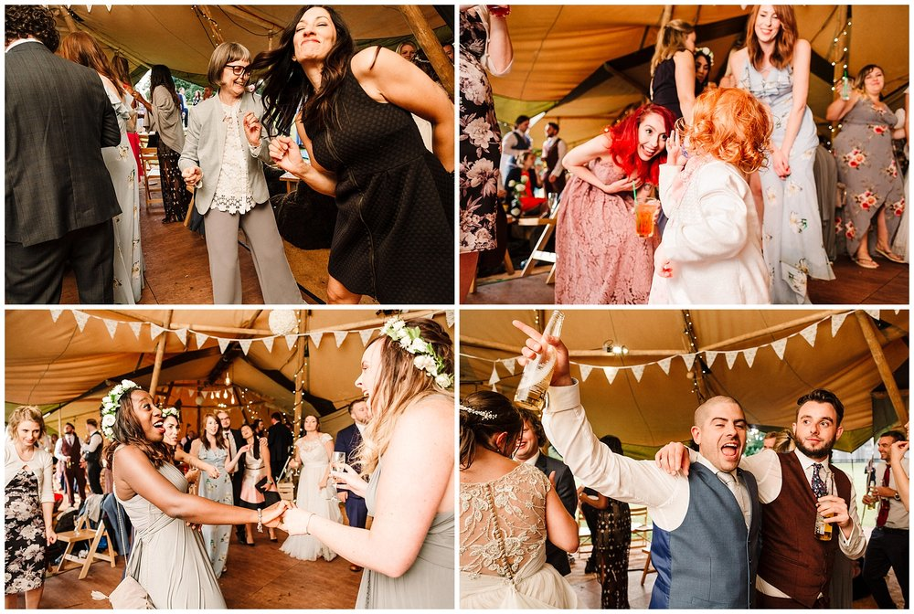 wedding guests dancing at scampston hall yorkshire