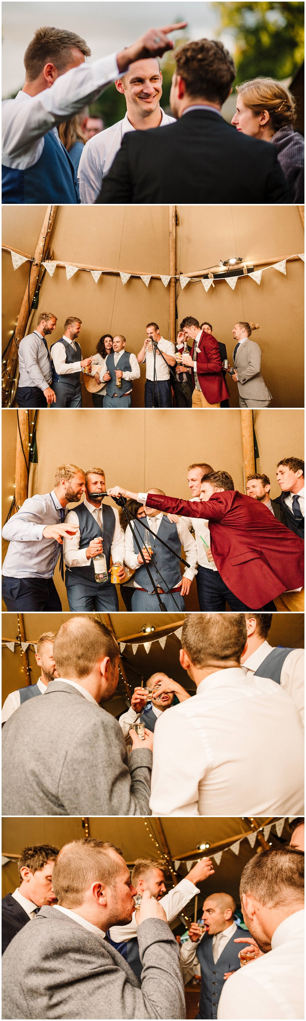 male wedding guests singing karaoke on stage and drinking at a yorkshire wedding