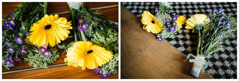 Budget wedding bridal bouquet of yellow and purple flowers