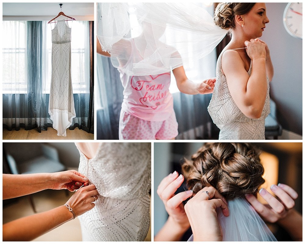 a bride getting ready at the malmaison hotel in london