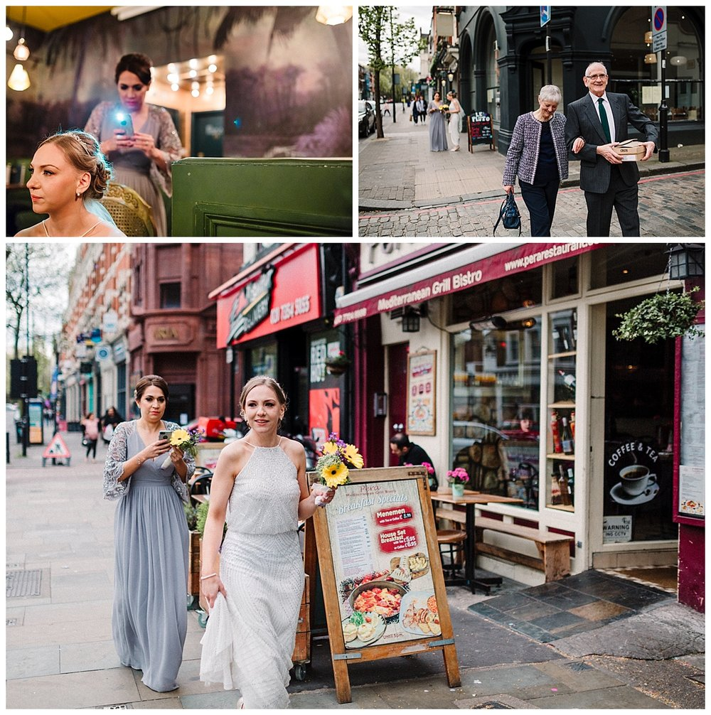 a bride and her bridal party walking through islington in london