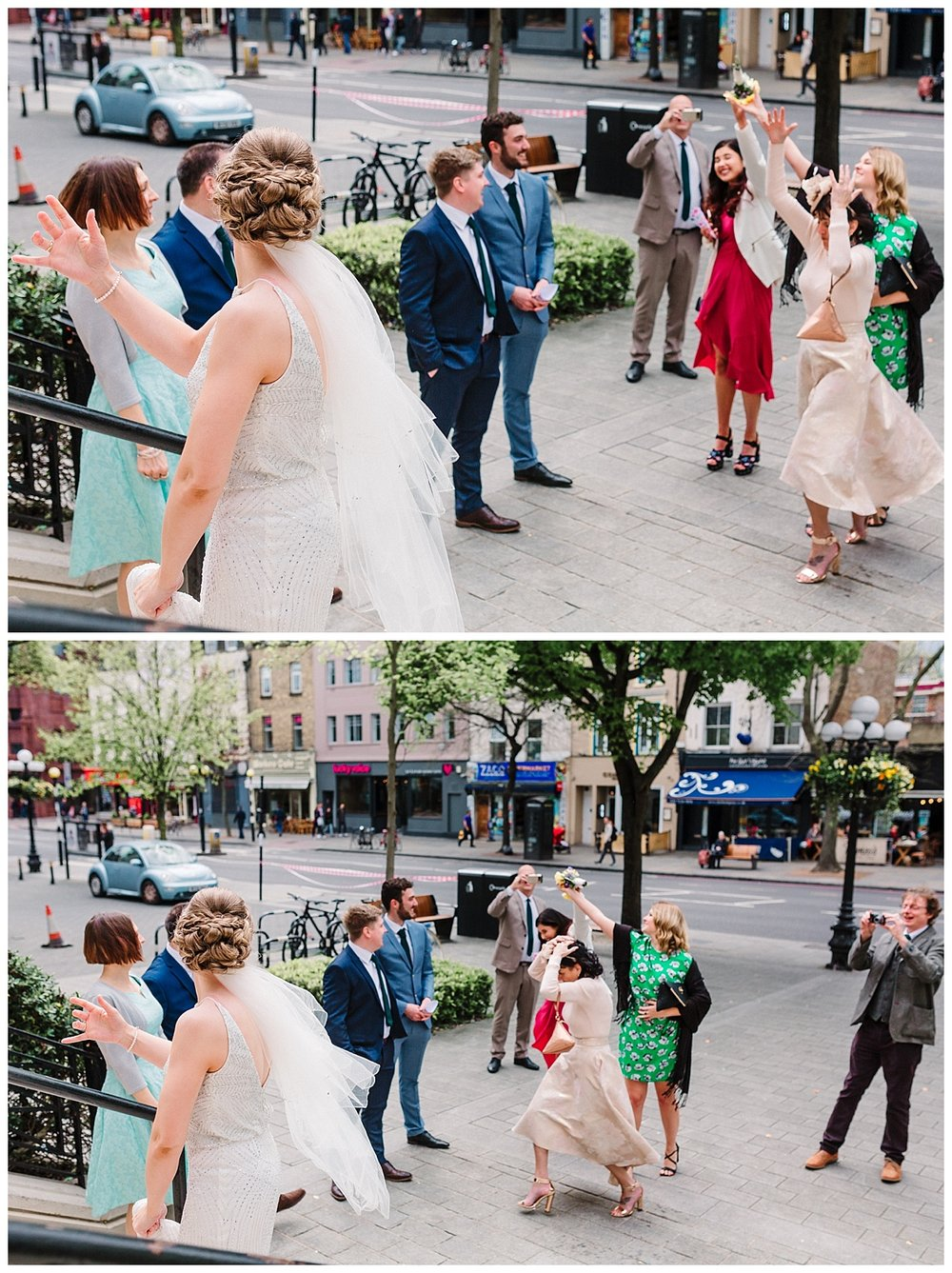 a bride throws the bouquet to female guests outside islington town hall