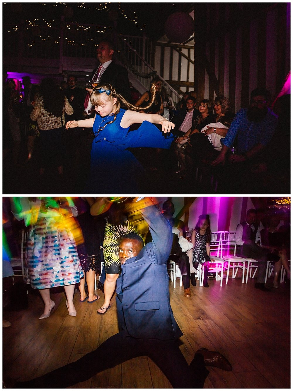 documentary wedding photography of guests dancing at a barn wedding