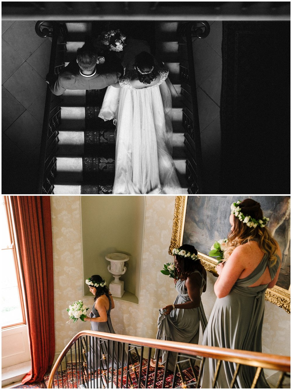 A bride walks down the stairs with her dad and her bridesmaids follow