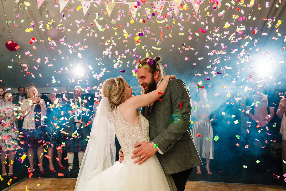 colourful confetti canon wedding dancefloor